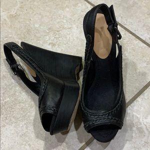 New True Religion Black Braided Wedge Sandals 7.5